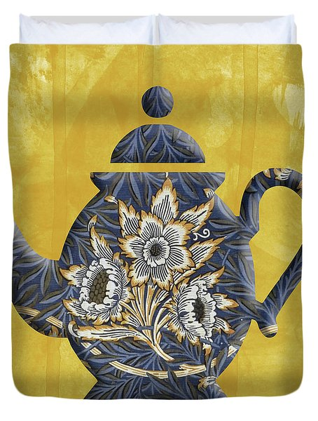 Tulips And Willow Pattern Teapot Duvet Cover