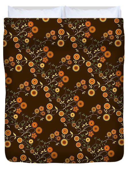 Duvet Cover featuring the digital art Autumn Flower Explosion by Methune Hively
