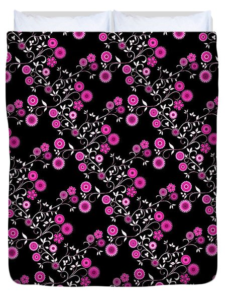 Duvet Cover featuring the digital art Pink Floral Explosion by Methune Hively