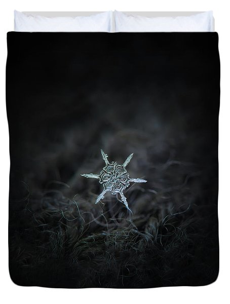 Duvet Cover featuring the photograph Real Snowflake Photo - The Shard by Alexey Kljatov
