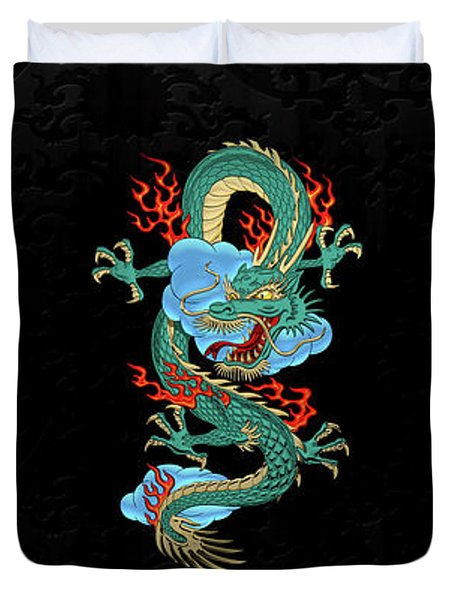 The Great Dragon Spirits - Turquoise Dragon On Black Silk Duvet Cover by Serge Averbukh