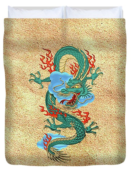 The Great Dragon Spirits - Turquoise Dragon On Rice Paper Duvet Cover by Serge Averbukh