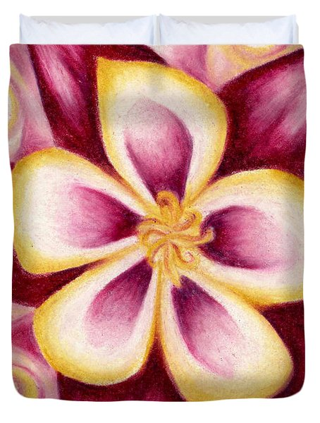 Pink And Yellow Columbine Flower Drawing Duvet Cover