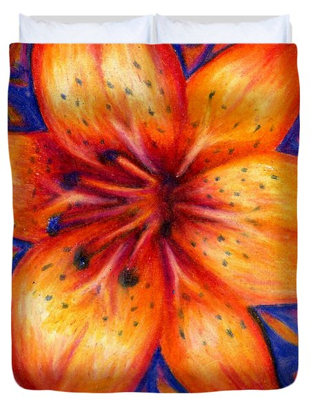 Orange Tiger Lily Drawing Duvet Cover