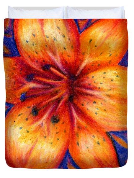 Orange Tiger Lily Drawing Duvet Cover