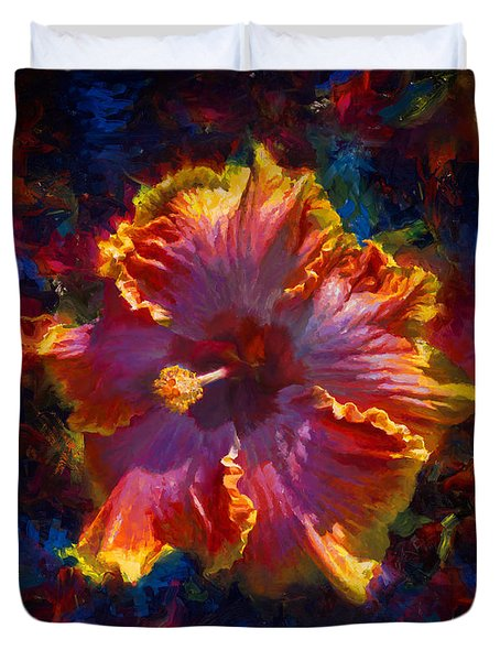 Rainbow Hibiscus Tropical Flower Wall Art Botanical Oil Painting Radiance  Duvet Cover