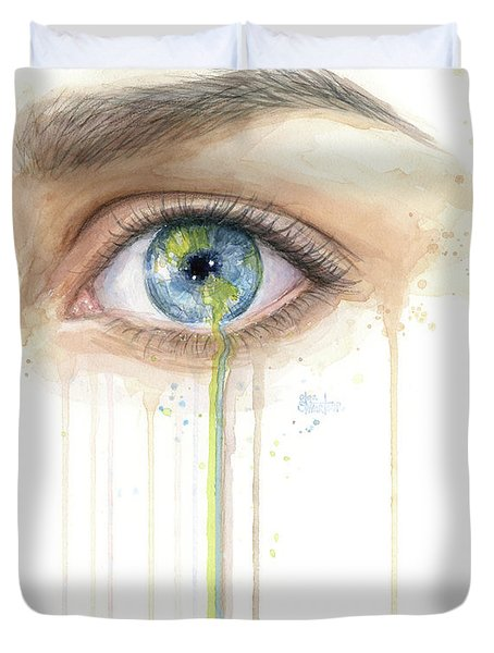 Earth In The Eye Crying Planet Duvet Cover