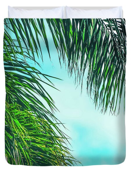 Tropical Palms Maui Hawaii Duvet Cover by Sharon Mau