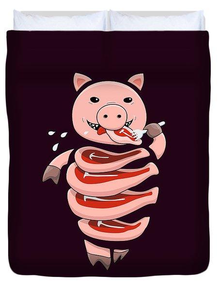Gluttonous Self-eating Pig Duvet Cover