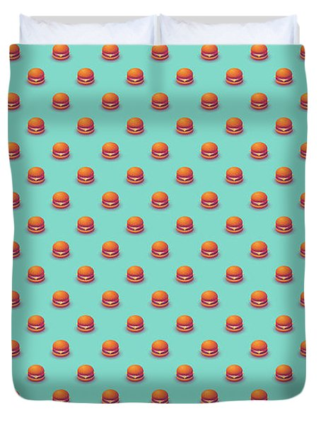 Burger Isometric - Plain Mint Duvet Cover