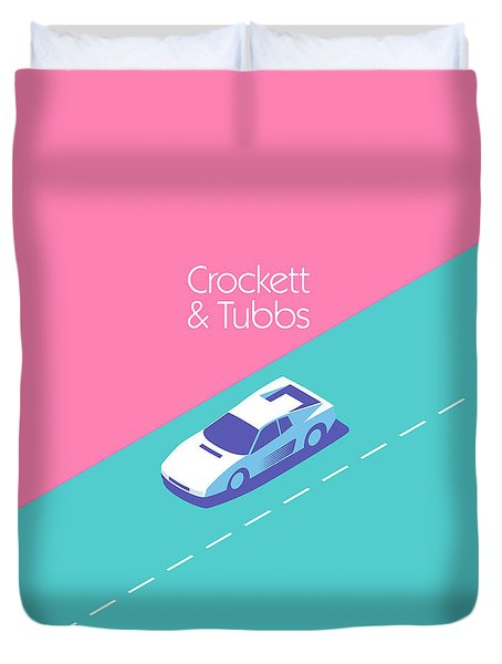Miami Vice Crockett Tubbs - Magenta Duvet Cover