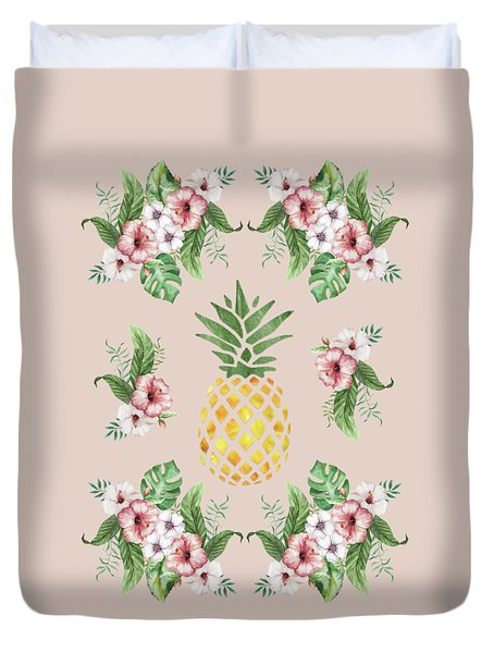 Duvet Cover featuring the painting Exotic Hawaiian Flowers And Pineapple by Georgeta Blanaru