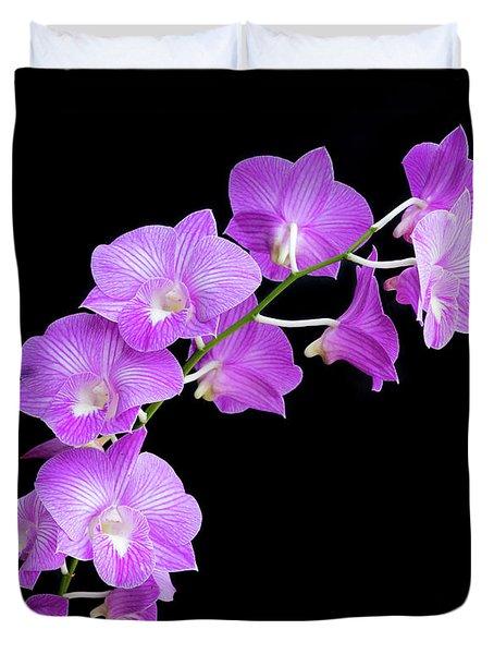 Vivid Purple Orchids Duvet Cover