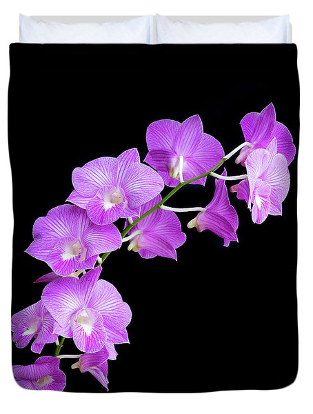 Vivid Purple Orchids Duvet Cover
