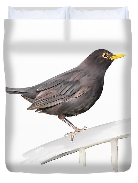 Ms. Blackbird Is Brown Duvet Cover