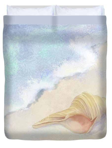 Duvet Cover featuring the painting Dance Of The Sea - Australian Trumpet Shell Impressionstic by Audrey Jeanne Roberts