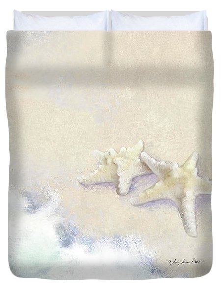 Duvet Cover featuring the painting Dance Of The Sea - Knobby Starfish Impressionstic by Audrey Jeanne Roberts