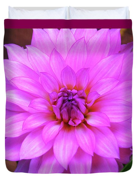Duvet Cover featuring the photograph Pink Purple Dahlia Flower by Kristen Fox
