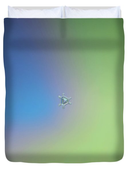 Real Snowflake Photo - Emerald Duvet Cover by Alexey Kljatov