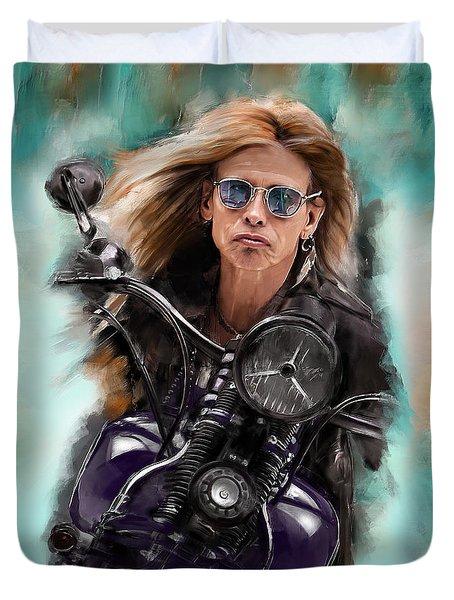 Steven Tyler On A Bike Duvet Cover