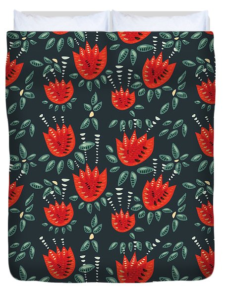 Dark Floral Pattern Of Abstract Red Tulips Duvet Cover