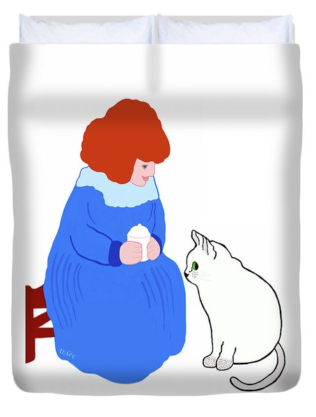 Duvet Cover featuring the painting  Pussycat, Pussycat By Mother Goose by Marian Cates