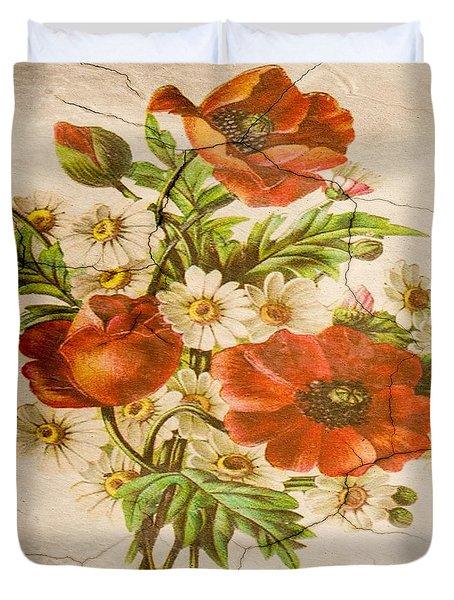 Classic Vintage Shabby Chic Rustic Poppy Bouquet Duvet Cover