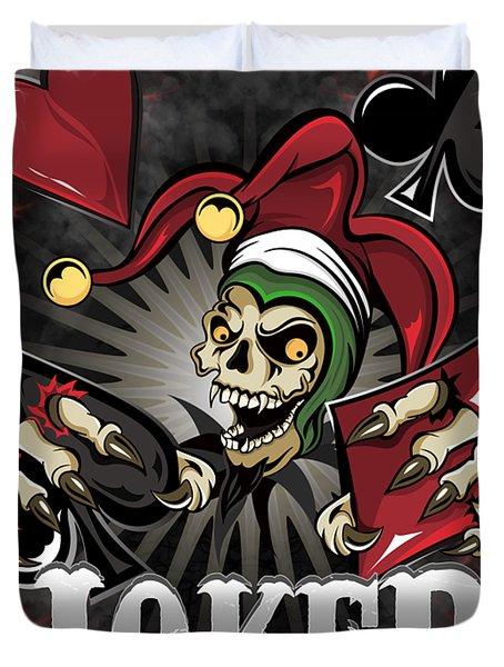 Joker Poker Skull Duvet Cover
