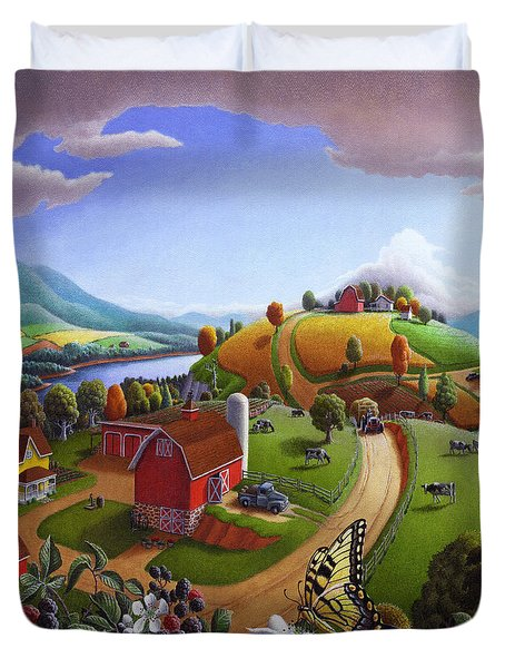 Folk Art Blackberry Patch Rural Country Farm Landscape Painting - Blackberries Rustic Americana Duvet Cover