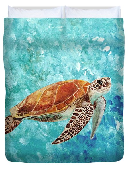 Turtle Swimming Duvet Cover