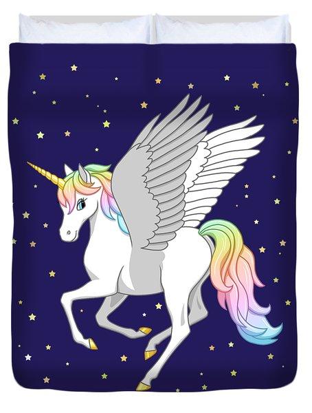 Pretty Rainbow Unicorn Flying Horse Duvet Cover