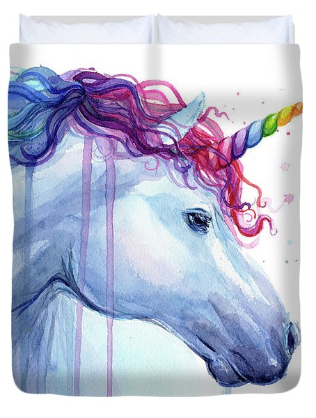 Rainbow Unicorn Watercolor Duvet Cover