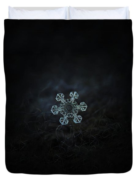 Duvet Cover featuring the photograph Real Snowflake - Ice Crown New by Alexey Kljatov