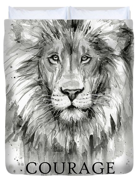Lion Courage Motivational Quote Watercolor Animal Duvet Cover