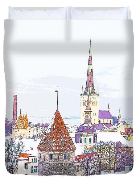 Winter Skyline Of Tallinn Estonia Duvet Cover