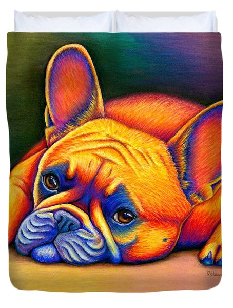 Colorful French Bulldog Duvet Cover