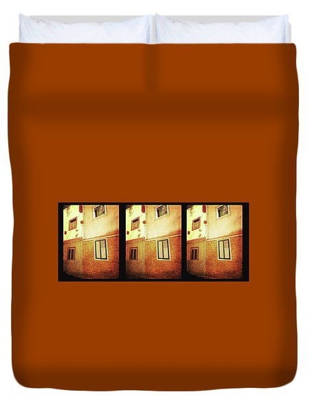 Duvet Cover featuring the photograph Alcala, Fiesta House by Anne Kotan
