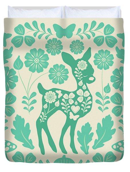 Mint Woodland Folk Deer  Duvet Cover