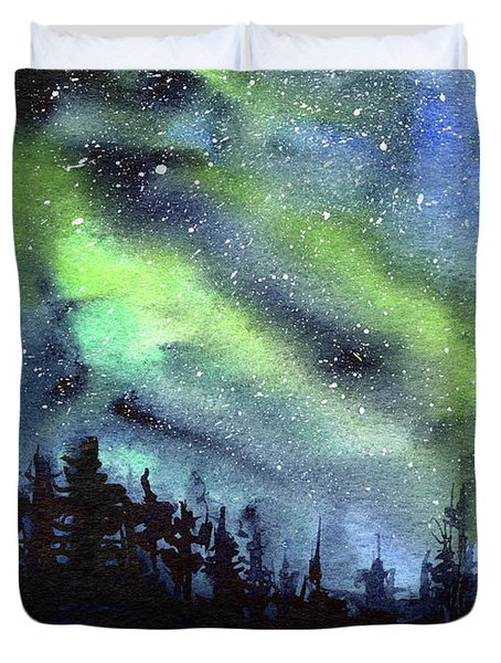 Galaxy Watercolor Nebula Northern Lights Duvet Cover