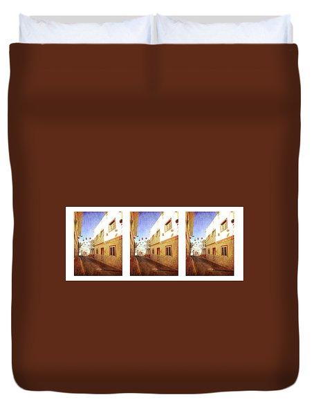 Duvet Cover featuring the photograph Alcala Fiesta Street by Anne Kotan
