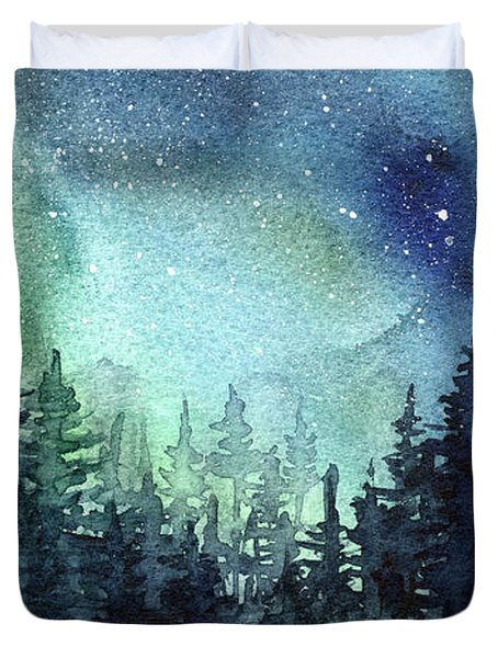Galaxy Watercolor Aurora Painting Duvet Cover