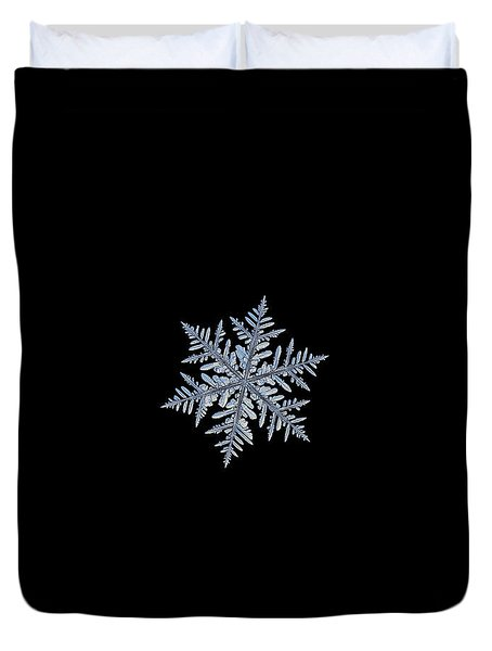 Duvet Cover featuring the photograph Real Snowflake - Silverware Black by Alexey Kljatov