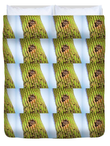 Screech Owl In Saguaro Duvet Cover