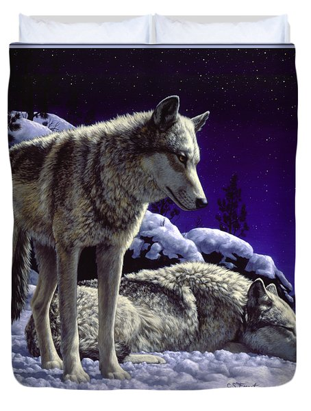 Wolf Painting - Night Watch Duvet Cover