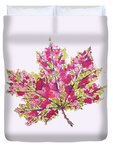Colorful Watercolor Autumn Leaf Duvet Cover