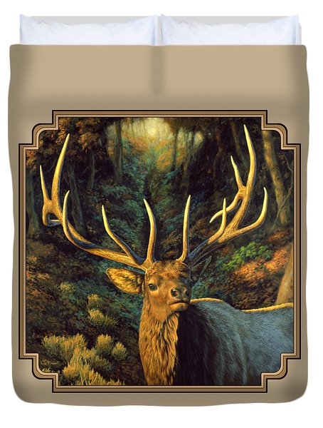 Elk Painting - Autumn Majesty Duvet Cover by Crista Forest