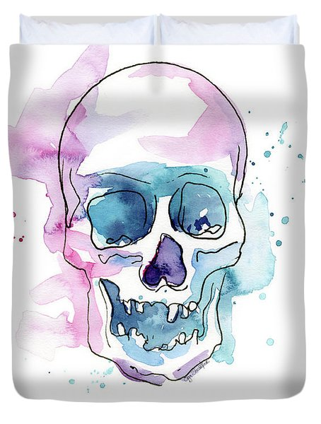 Skull Watercolor Abstract Duvet Cover