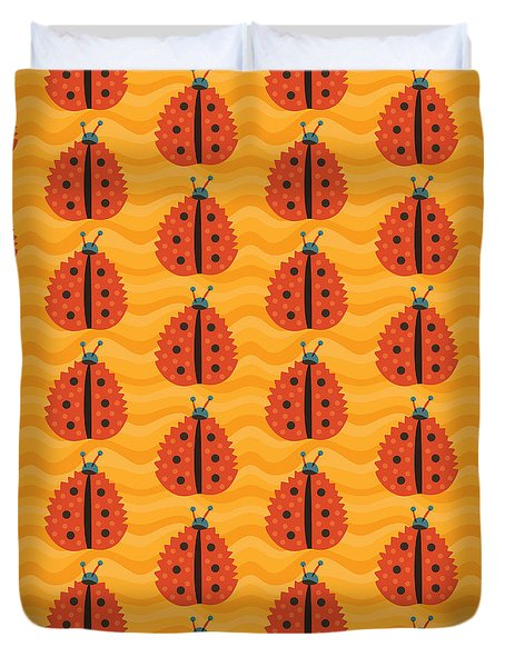 Orange Ladybug Masked As Autumn Leaf Duvet Cover