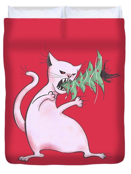 Funny White Cat Eats Christmas Tree Duvet Cover