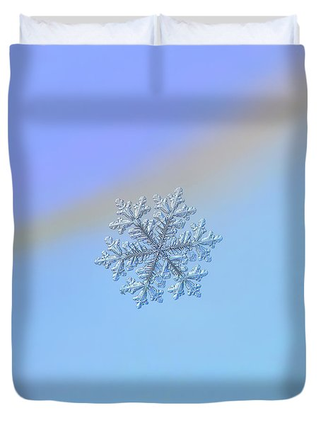 Duvet Cover featuring the photograph Real Snowflake - Hyperion by Alexey Kljatov